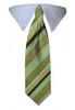 Business Green Stripe Tie Collar
