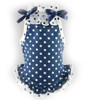Blue Polka Dot Ruffled Tank Top