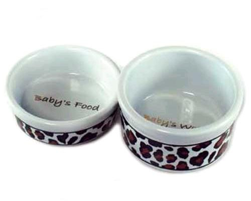 baby s leopard food water bowl set baby blue paws on palm beach