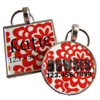 Red Peony Flower Pet ID Tag