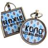 Retro Blue Grey Dots Pet ID Tag