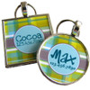 Green Blue Plaid Pet ID Tag