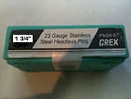 "GREX 23 Ga. x 1 3/4""  Stainless Steel- Headless Pins ~ 5/m"