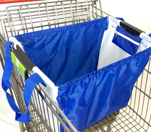 """Universal clip for wire and plastic rimmed grocery carts Extra large holds 40 lb, L 21.5"""" x H15.5"""" x D13 """" Side pockets for coupons Long shoulder straps velcro handle closure  Heavy-duty 210D polyester Elastic band to keep items in place when bag is put in car, stands upright when full Washable in sink Environmentally friendly, replaces the plastic bag Two bags fit a big shopping cart Perfect stocking stuffers for green people."""