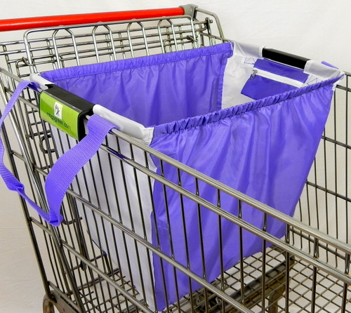 "Universal clip for wire and plastic rimmed grocery carts Extra large holds 40 lb, L 21.5"" x H15.5"" x D13 "" Side pockets for coupons Long shoulder straps velcro handle closure  Heavy-duty 210D polyester Elastic band to keep items in place when bag is put in car, stands upright when full Washable in sink Environmentally friendly, replaces the plastic bag Two bags fit a big shopping cart Perfect stocking stuffers for green people."