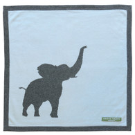cashmere layette blue + grey elephant blanket
