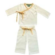 cashmere layette cream + yellow kimono set
