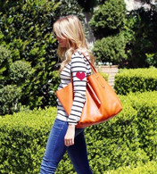 FRENCH STRIPE HEART TATTOO PULLOVER