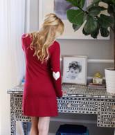 HEART ELBOWS SKINNY WRAP CARDIGAN / RED