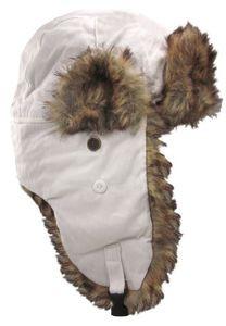 Dakota Dan Winter Trooper Hat White Snow Camo with Faux Brown Rabbit Fur Trim