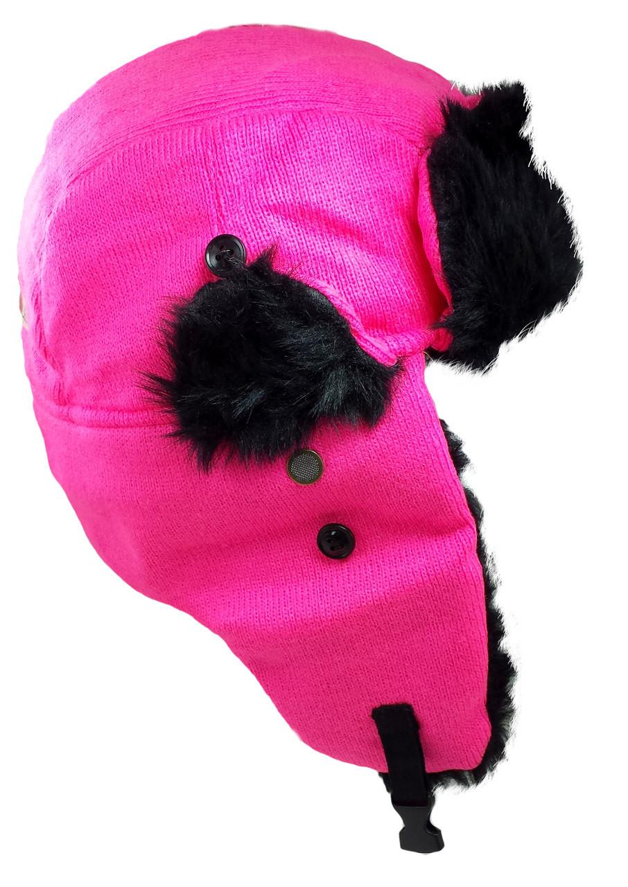 d5e75b6503b ... Dakota Dan Winter Trooper Hat Neon Pink Knit with Faux Fur Trim Ear  Flap Hat. Image 1 · Image 1 ...