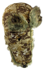 Dakota Dan Brown Pixelated Desert Camouflage Winter Trooper Hat Faux Rabbit Fur