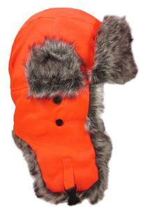 Dakota Dan Blaze Orange Winter Trooper Hat or Cap Faux Fur Perfect for Hunting!