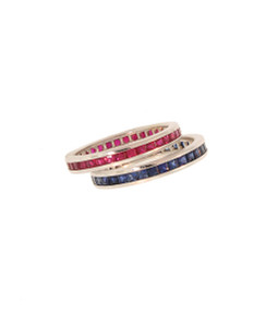 Stackable SQUARE CUT Rubies or Sapphires in 18K Eternity Bands.