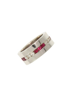 Round Ruby and Diamond Triple Wide Band