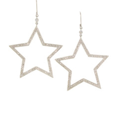 Huge North Star Dangle Diamond Earrings. 18K