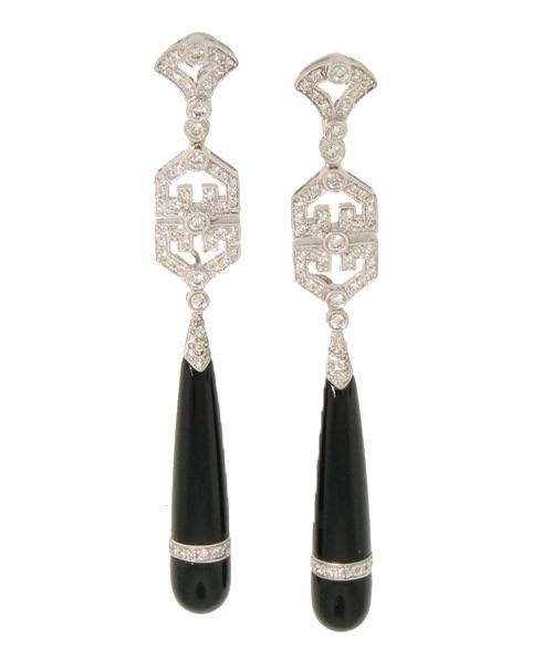 e79158680 French Style Chinese Genre Art Deco Diamond and Black Jade Long Drop ...