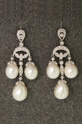 fa0c9caa0 Baroque Diamond and Pearl Chandelier Earrings from Esther Gallant.. 18K.  Price: $4,250.00. Image 1