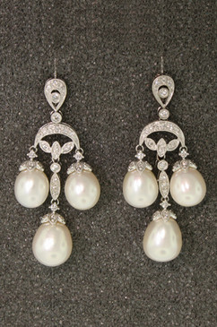 Baroque Diamond and Pearl Chandelier Earrings from Esther Gallant.. 18K