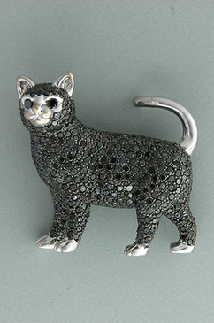 Pure Decadence. A Black Cat covered in Black Diamonds! 18k