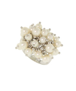 White Pearl Bouncing Bubble Ring. 14K.