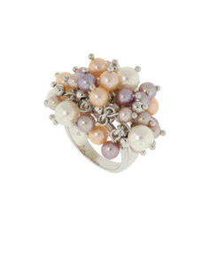 Pastel Pearls Bouncing Bubble Ring. 14K.
