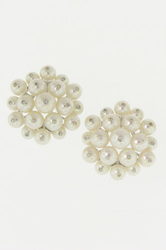 Diamond Studded White Pearl Earrings.  14K.