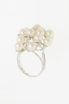 Clustered Pearl Ring with Diamond Accents.  14K.