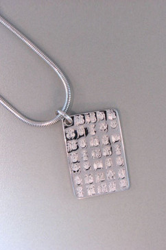 Good Luck Chinese Calligraphy Dog Tag on Snake Chain. Sterling Silver.