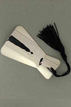 Personal Engraveable Sterling Silver Shoe Horn with Silken BlackTassle.