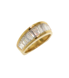 Diamond Baguette Angled Gold Band,18K YELLOW GOLD