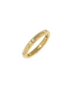 Thick Yellow Gold Diamond Stack Ring