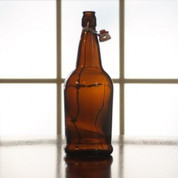 Flip Top Bottles Amber, 1 Liter - Case of 12