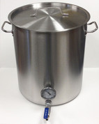 15 Gallon Mash Tun with SS False Bottom and Weldless SS Ball Valve & Thermometer