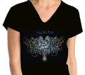 Zeta Filigree Bling T-Shirt:  V-Neck