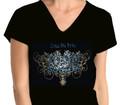 Zeta Filigree Bling T-Shirt:  V-Neck (2X)