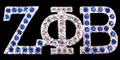 Zeta Crystal Lapel Pin - Blue & White