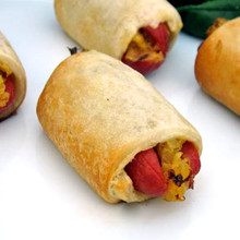 All beef frank stuffed with sauerkraut and mustard wrapped in crescent roll pastry.   Units/case: 100