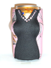 Can Koozie ~ Black/Snowfall Pink Camo ~ 21215
