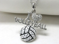 Volleyball-I Love Necklace