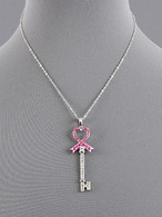 Breast Cancer Awareness Pink Ribbon Heart Throb Key Necklace