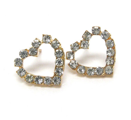 Crystal Heart Stud Earrings