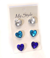 Crystal Heart Stud Earrings (3 Pairs)