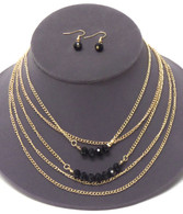 Gold & Black Multi Layer Chain & Facet Stone Necklace Set