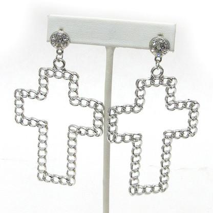 Chain Cross Drop Earrings - Silver