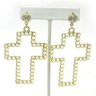Chain Cross Drop Earrings - Gold