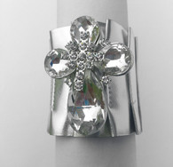 Crystal Cross Silver Metallic Bracelet