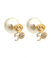 5-Pearl and Gold Flower Stud Earrings