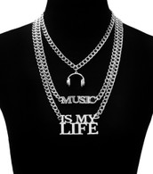 Music Is My Life Three Link Layered Necklace