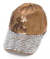 Copper Sequin & Rhinestone Bling Cap